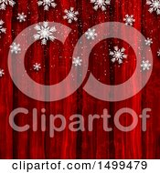 Red Wood And Snowflake Background