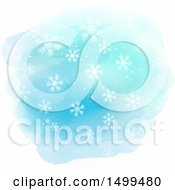 Watercolor And Snowflake Background