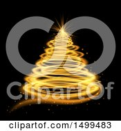 Clipart Of A Golden Spiral Glowing Christmas Tree On Black Royalty Free Vector Illustration