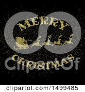 Merry Christmas Greeting And Santas Sleigh Made Of Golden Glitter On Black