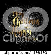 Clipart Of A Merry Christmas And A Happy New Year Greeting Over Confetti On Black Royalty Free Vector Illustration