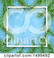 Border Of Branches Around A Blue Snowflake Background