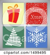 Clipart Of A Merry Christmas Design With Tiles On Gray Royalty Free Vector Illustration