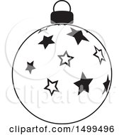 Black And White Christmas Bauble Ornament With Stars