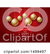 Clipart Of A Merry Christmas And A Happy New Year Design Under Golden Baubles Royalty Free Vector Illustration