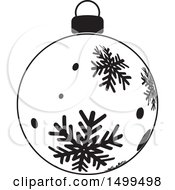 Black And White Christmas Bauble Ornament With Snowflakes