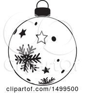 Black And White Christmas Bauble Ornament With Stars And Snowflakes