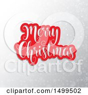 Clipart Of A Red And Cut Out Merry Christmas Greeting Over A Gray Snowflake And Flare Background Royalty Free Vector Illustration