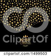 Clipart Of A Gold Merry Christmas Greeting With Icons On Black Royalty Free Vector Illustration