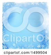 Blue Watercolor Background With A Border Of Snowflakes And White