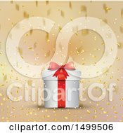 Clipart Of A Christmas Gift Box With Falling Golden Confetti Royalty Free Vector Illustration