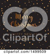 Clipart Of A Merry Christmas And A Happy New Year Design With Gold On Black Royalty Free Vector Illustration