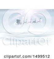Silhouetted Magic Santa Sleigh And Reindeer Flying Over A Winter Landscape With Sunshine