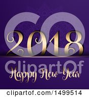 Clipart Of A Happy New Year 2018 Design On Purple Royalty Free Vector Illustration by KJ Pargeter