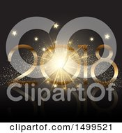 Clipart Of A New Year 2018 Design With A Burst Stars And Confetti Royalty Free Vector Illustration