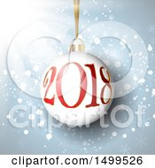3d New Year 2018 Bauble Ornament Over Blue