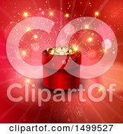 3d Round Red Christmas Gift Box Over A Snowflake And Flare Burst