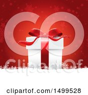 3d Christmas Gift Box In Snow Over Red