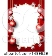 Christmas Border With 3d Baubles And Snowflakes On Red