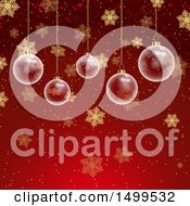 Christmas Background With Suspended Clear Ornament Baubles On Red With Snowflakes
