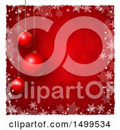 Christmas Background With Suspended Ornament Baubles On Red With Snowflakes And A White Border