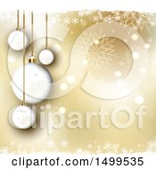 Golden Christmas Background With Suspended Ornament Baubles With Snowflakes