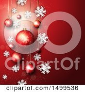 Christmas Background With Suspended Ornament Baubles On Red With Snowflakes
