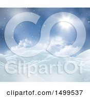 Clipart Of A 3d Winter Landscape With Snowy Hills Under A Sunny Sky Royalty Free Illustration