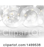 Clipart Of A 3d Winter Landscape With Snowy Hills Flares And Glass Baubles Royalty Free Illustration