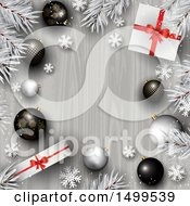 Christmas Background With A Border Of Gifts Branches Snowflakes And 3d Baubles