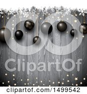 Clipart Of A Christmas Background 3d Black Baubles Over Wood With Stars And Snowflakes Royalty Free Vector Illustration by KJ Pargeter