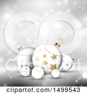 Christmas Background With Star Patterned Baubles Over Snowflakes