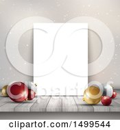 Christmas Background With Baubles And A Blank Canvas On A Shelf