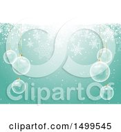 Christmas Background With Suspended Clear Ornament Baubles With Snowflakes