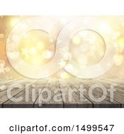 Clipart Of A 3d Wooden Surface With Golden Stars And Flares Royalty Free Illustration by KJ Pargeter