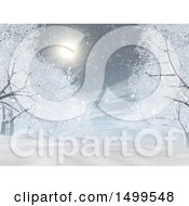 3d Winter Night Landscape With Trees