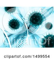 Clipart Of A 3d Background Of Virus Cells And Dna Strands Royalty Free Illustration