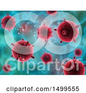 Clipart Of A Background Of 3d Virus Cells On Blue Royalty Free Illustration