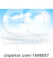 Clipart Of A Snowy Winter Landscape With A Sunny Sky Royalty Free Vector Illustration