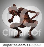 3d Demon Crouching On Gray
