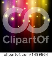 Clipart Of A Colorful Background With Golden Shiny Stars Royalty Free Vector Illustration
