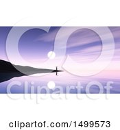 Clipart Of A 3d Silhouetted Man On An Island Overlooking A Peaceful Bay Against A Purple Sunset Royalty Free Illustration