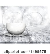 Clipart Of A 3d White Coffee Cup And Saucer On A Wood Surface Over A Winter Landscape Royalty Free Illustration by KJ Pargeter