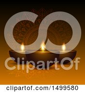 Clipart Of A Diwali Lamp And Mandala Background Royalty Free Vector Illustration