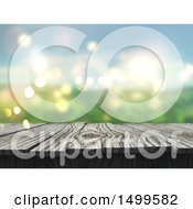 Clipart Of A 3d Wooden Surface With A Blurred Outdoor Background Royalty Free Illustration