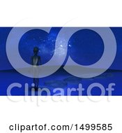 Clipart Of A 3d Alien On Stepping Stones In A Still Lake Royalty Free Illustration by KJ Pargeter