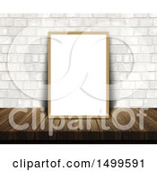 Clipart Of A 3d Blank White Frame Or Picture Frame On A Wood Table Leaning Against A White Brick Wall Royalty Free Illustration