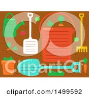 Clipart Of A Background Of Garden Tools With Ruled Lines And Text Space Royalty Free Vector Illustration