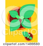 Clipart Of A Top View Of Potted Plants With Ruled Lines And Text Space Royalty Free Vector Illustration