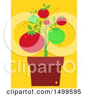 Clipart Of A Potted Tomato Plant With Ruled Lines And Text Space Royalty Free Vector Illustration